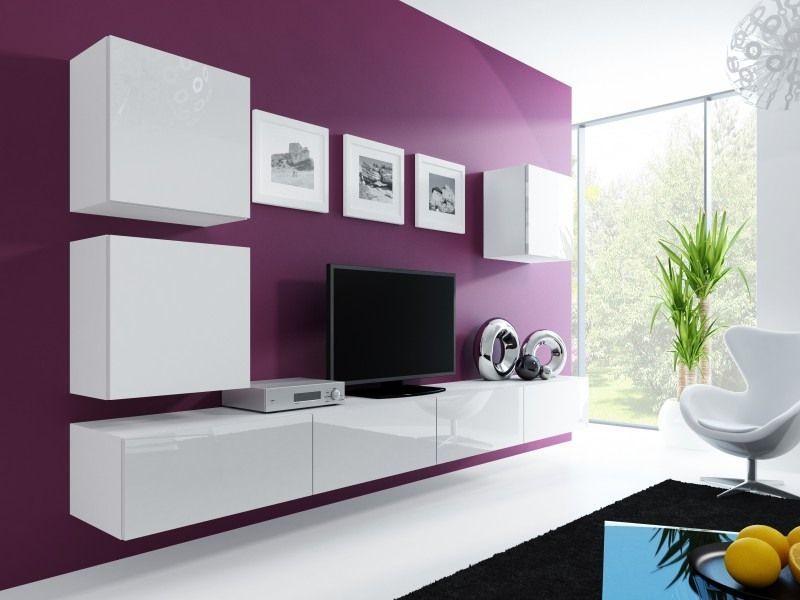 Wohnzimmer Wandschrank Weiß Hochglanz