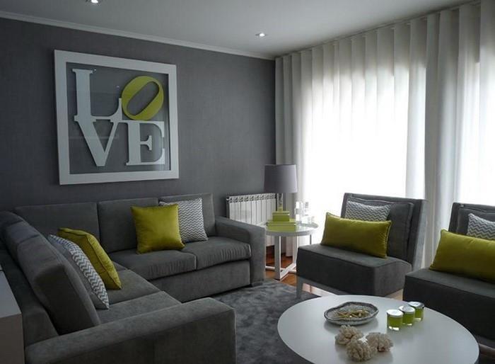 Wohnzimmer Weiß Grau Grün
