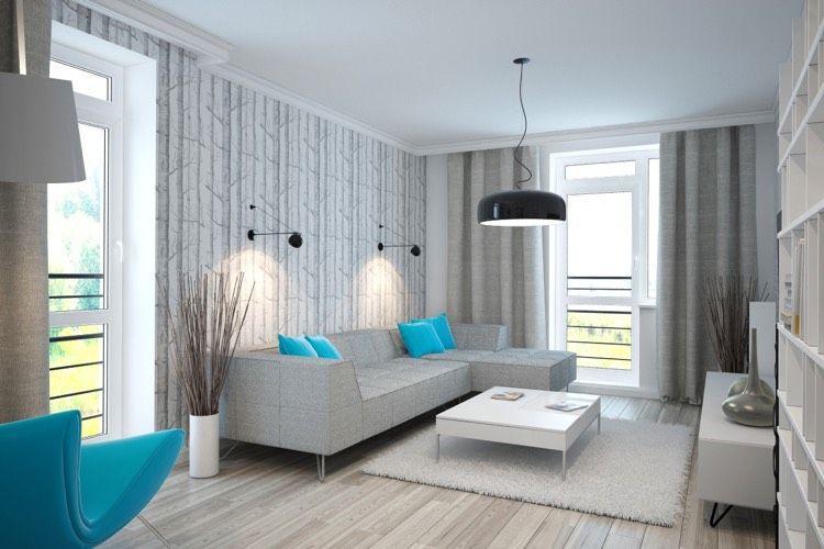 Wohnzimmer Weiß Grau Türkis