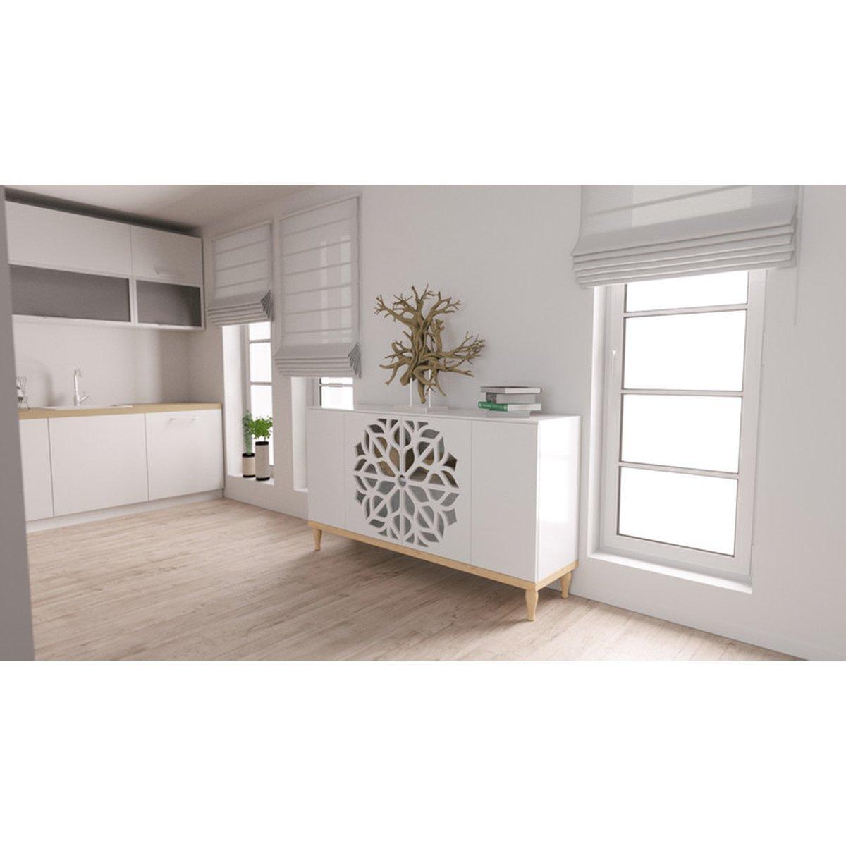 Wohnzimmerschrank Holz Weiß