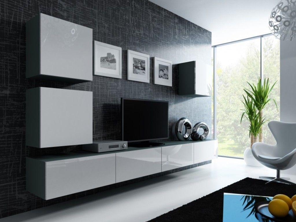 Wohnzimmerschrank Weiß Grau