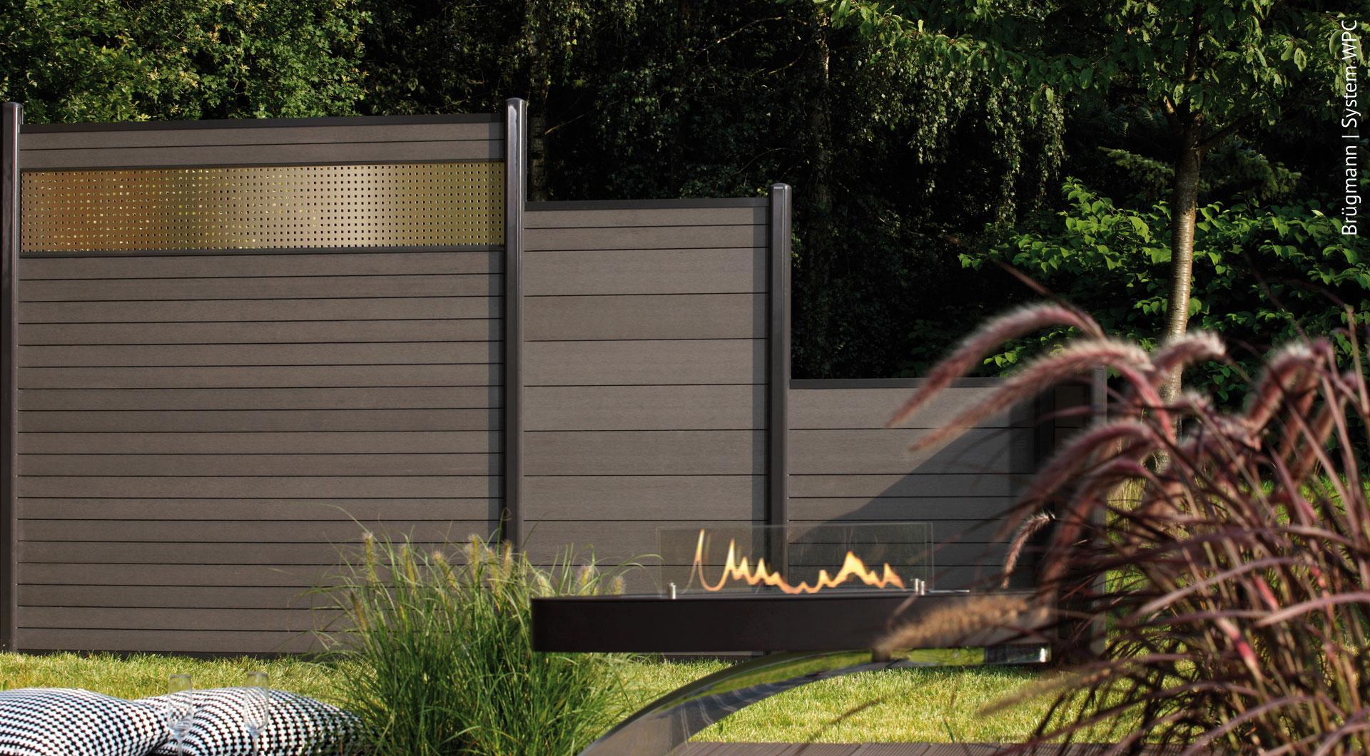 Zaun Sichtschutz Holzoptik