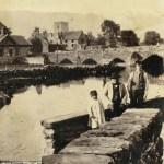 1866 Album Page - Three Figures by Dolgellau Bridge (Y Bont Fawr). 27th September 1866.