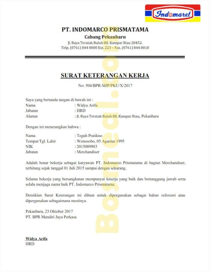 Contoh Format Surat Keterangan Kerja di Toko - Bosmeal.com