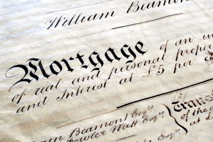 old mortgage document in black and white