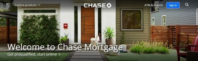 screenshot of the chase mortgage website
