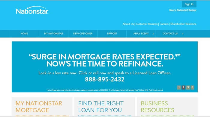 screenshot of the nationstar mortgage website