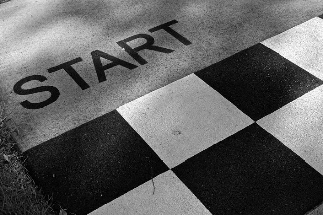 black and white start line in a race track