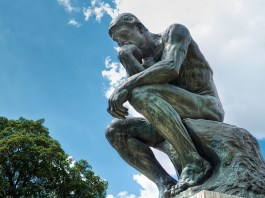 rodin's thinker statue at rodin museum outside