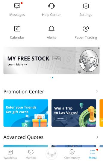 Webull menu page
