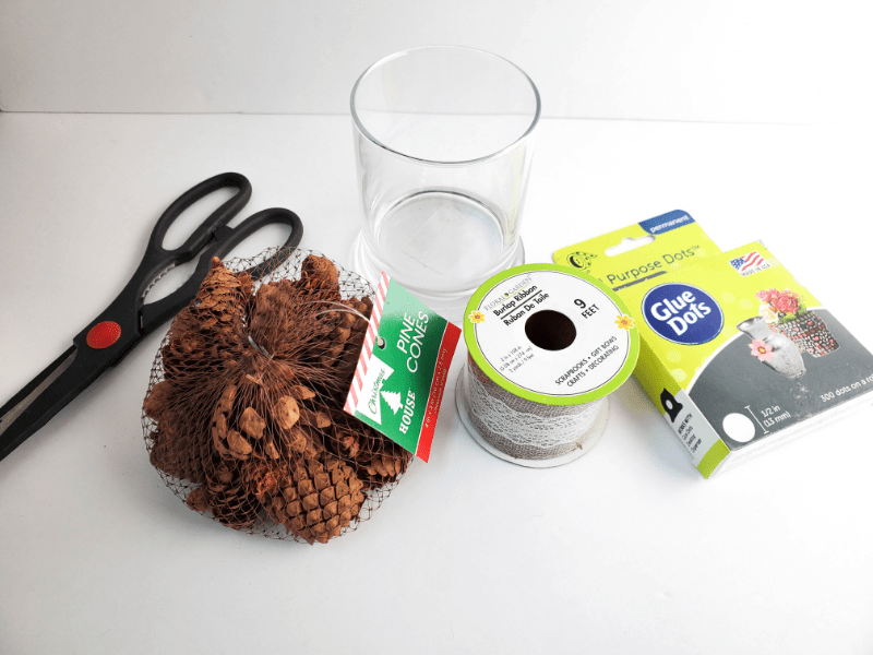 Materials needed for Make a Dollar Store Pine Cone Decoration