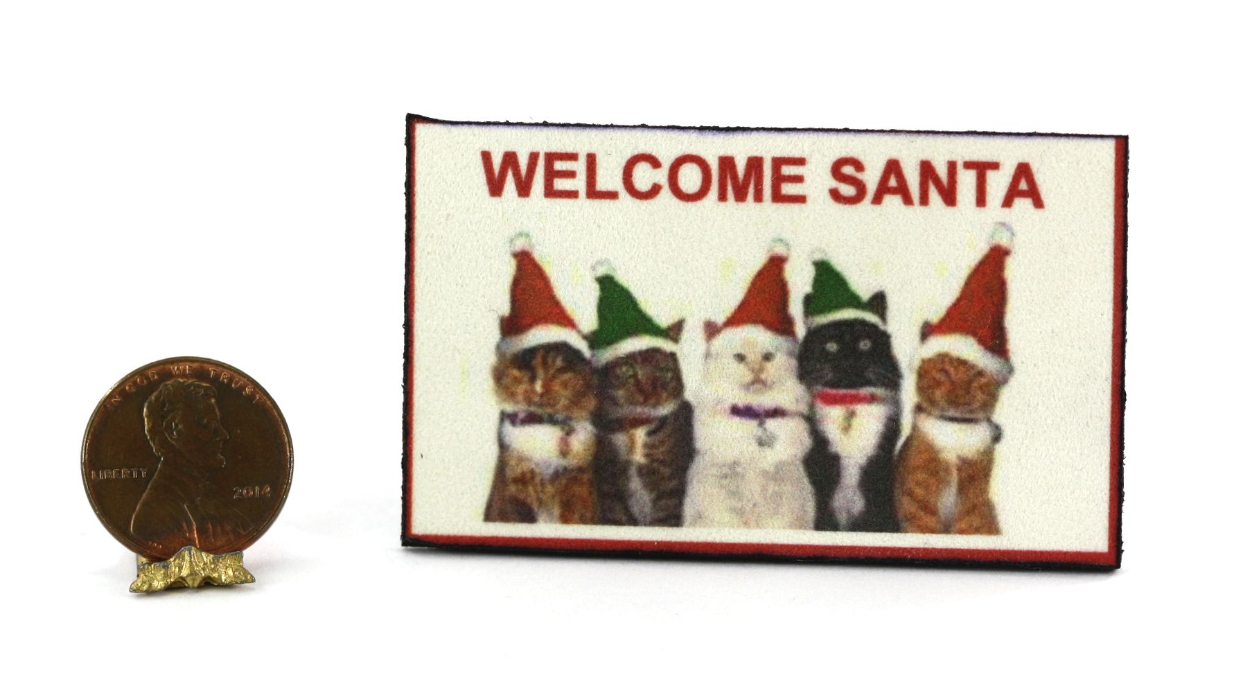Santa Cats Welcome Mat By Serendipity Miniatures 1