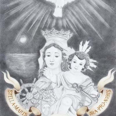 Cartel de la Asociación Virgen del Carmen (Junta de los Caminos), obra de Zenaida Moriana