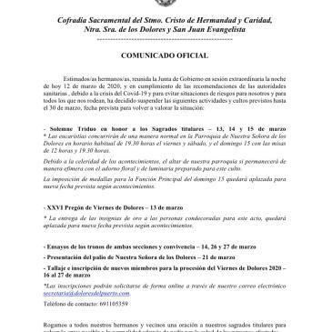 Comunicado Oficial: Acuerdos adoptados en Sesión Extraordinaria de Junta de Gobierno