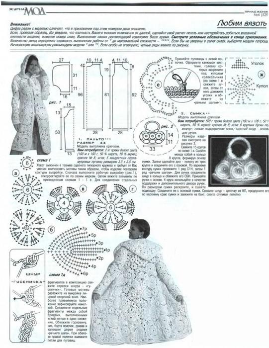 Схема вязания, выкройка пальто крючком