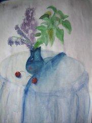 """Натюрморт """"Сирень в вазе и вишни"""""""