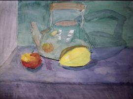 """Натюрморт """"Чайник, яблоко и груша"""""""