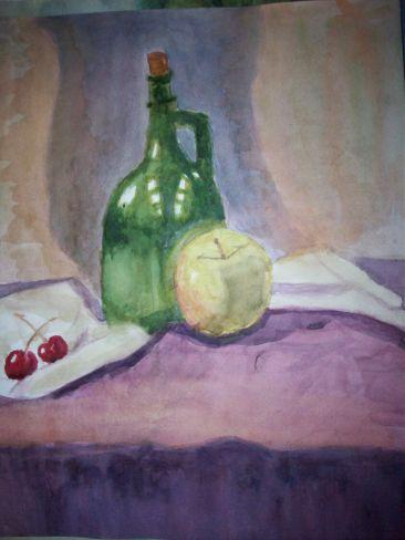 "Натюрморт ""Кувшин, яблоко и вишни"""