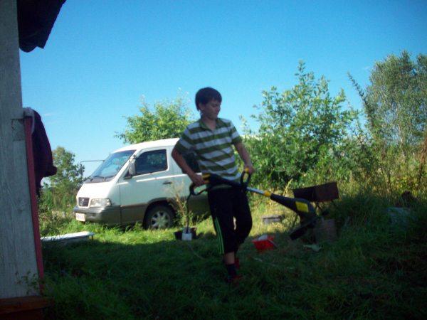 Даня косит траву