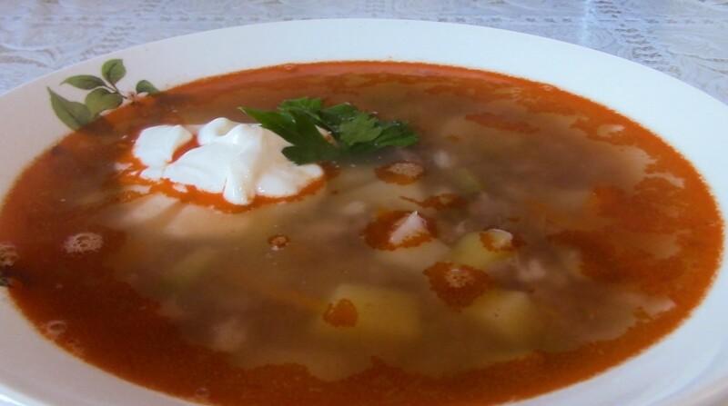 Cozinhar sopa de picles com carne e farragem de pérola