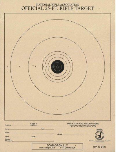 TQ-5/1 - Air Rifle (BB Gun) Target - 25 Foot Range Official NRA Target (Pack of 100)