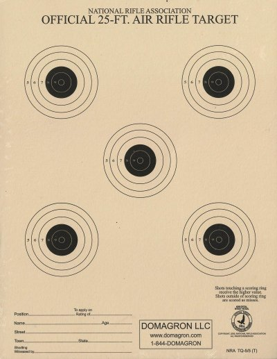 TQ-5/5 - 25 Foot Air Rifle / BB Gun Target Official NRA Target (Pack of 100)
