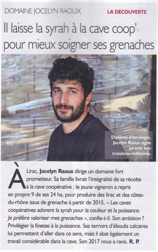 Revue des Vins de France - Domaine Jocelyn Raoux