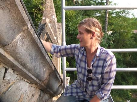 Véronique on chapel scaffolding