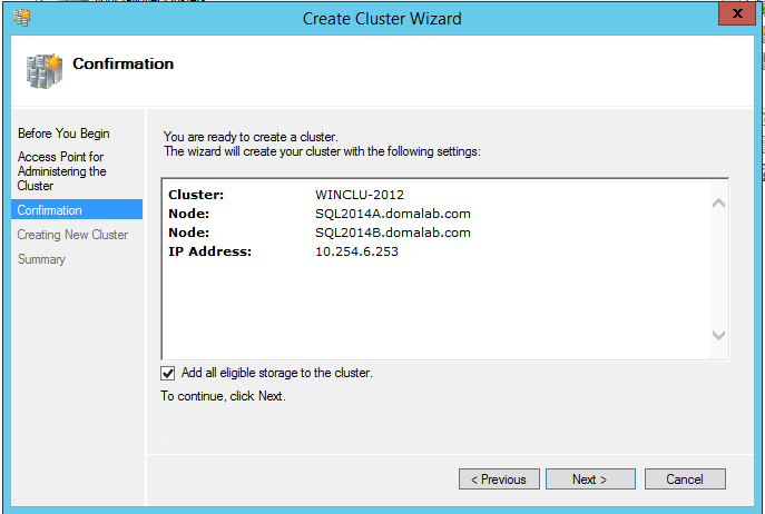 domalab.com install clustered SQL confirmation