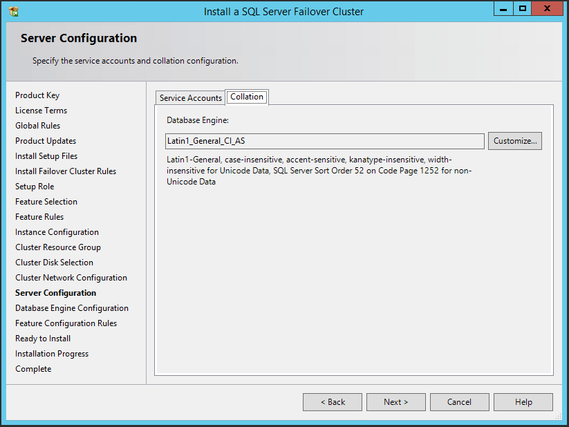 domalab.com SQL first node server configuration collation