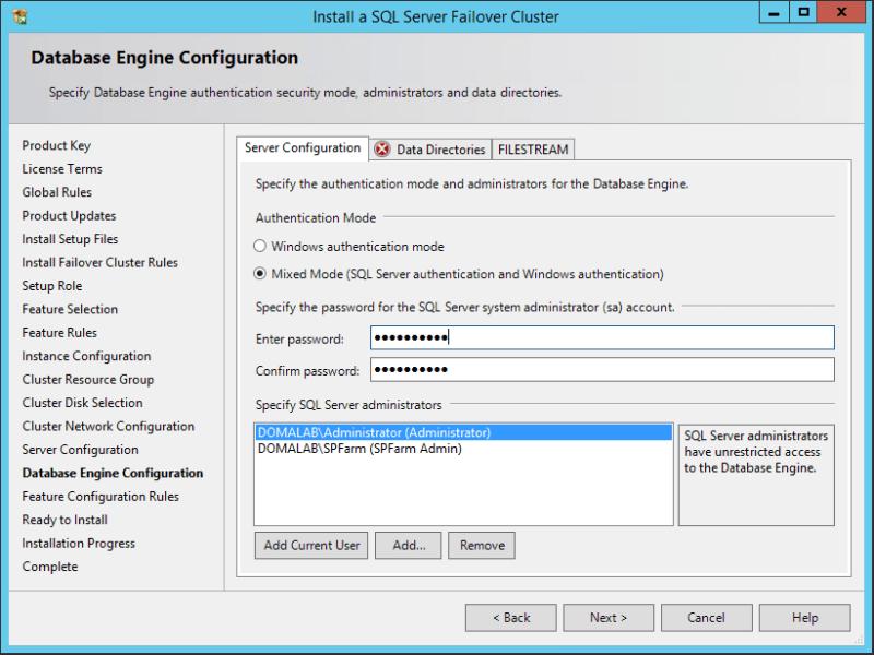 domalab.com SQL first node database engine configuration