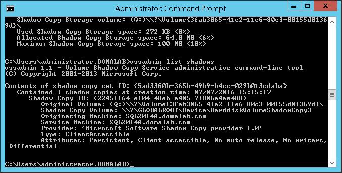 domalab.com Configure VSS list shadows