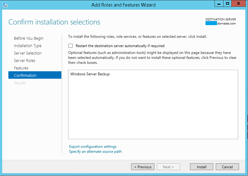 domalab.com Exchange 2016 Backup feature confirmation