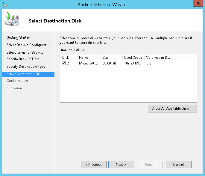 domalab.com Exchange 2016 Backup destination disk