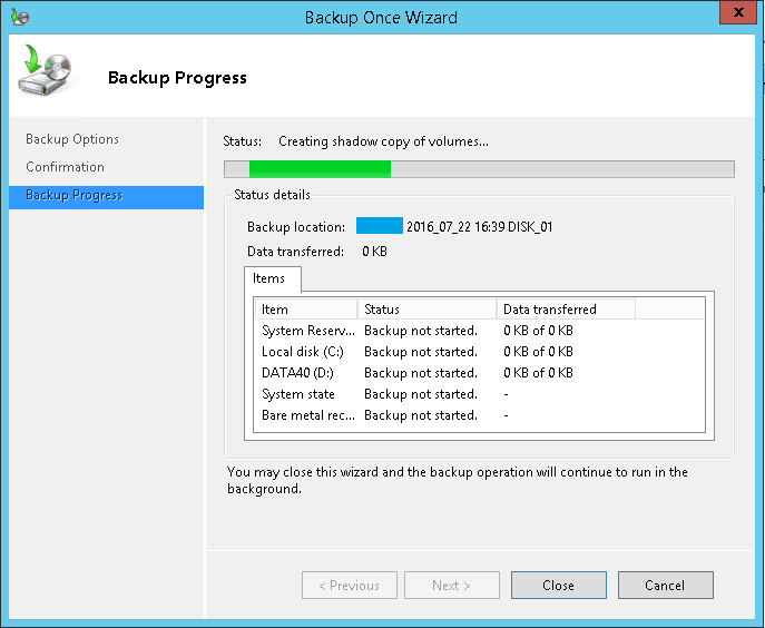 domalab.com Exchange 2016 Backup start