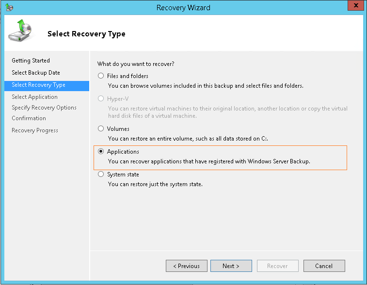 domalab.com Exchange 2016 Mailbox Database Restore select recovery type