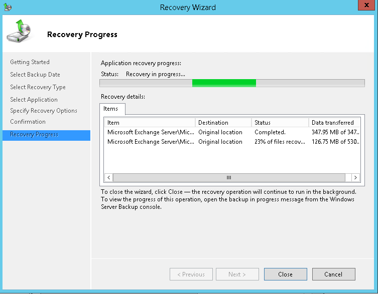 domalab.com Exchange 2016 Mailbox Database Restore recovery progress