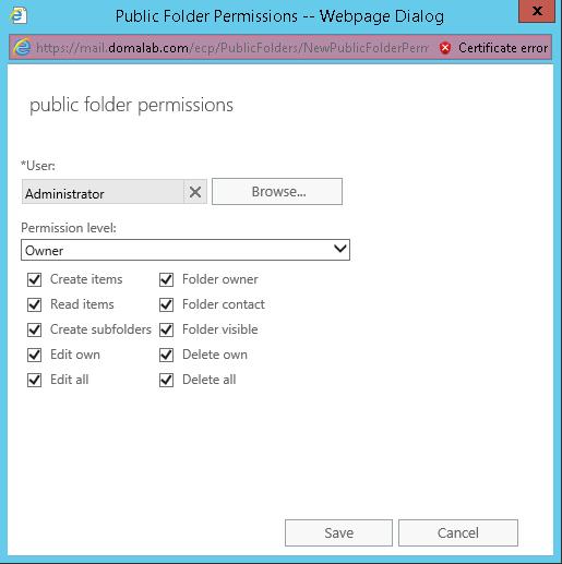 domalab.com Exchange 2016 Public Folders permissions