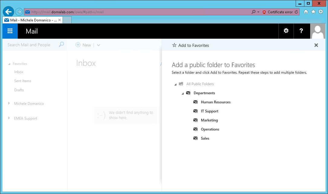 domalab.com Exchange 2016 Public Folders select