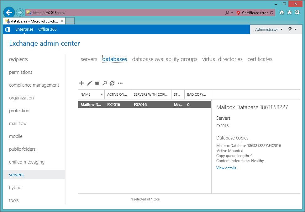 Exchange 2016 Mailbox Database