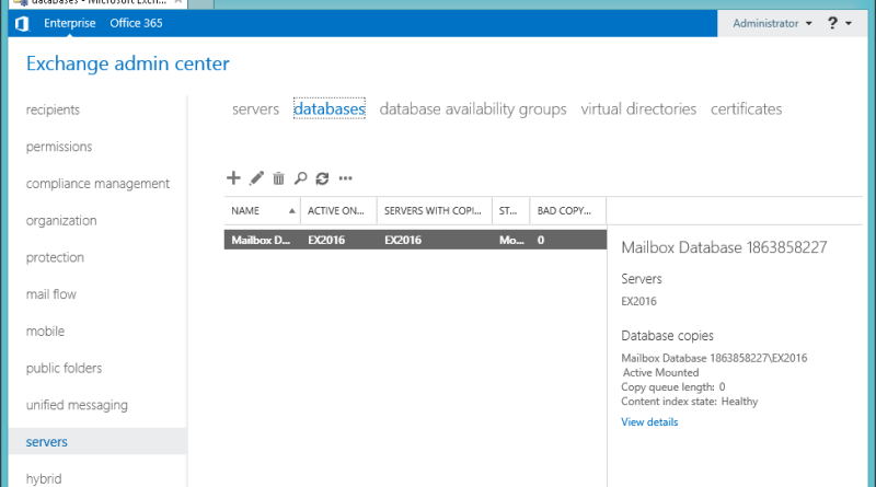 Exchange 2016 Mailbox Database
