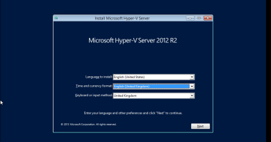 Hyper-V Server 2012 R2 Core installation