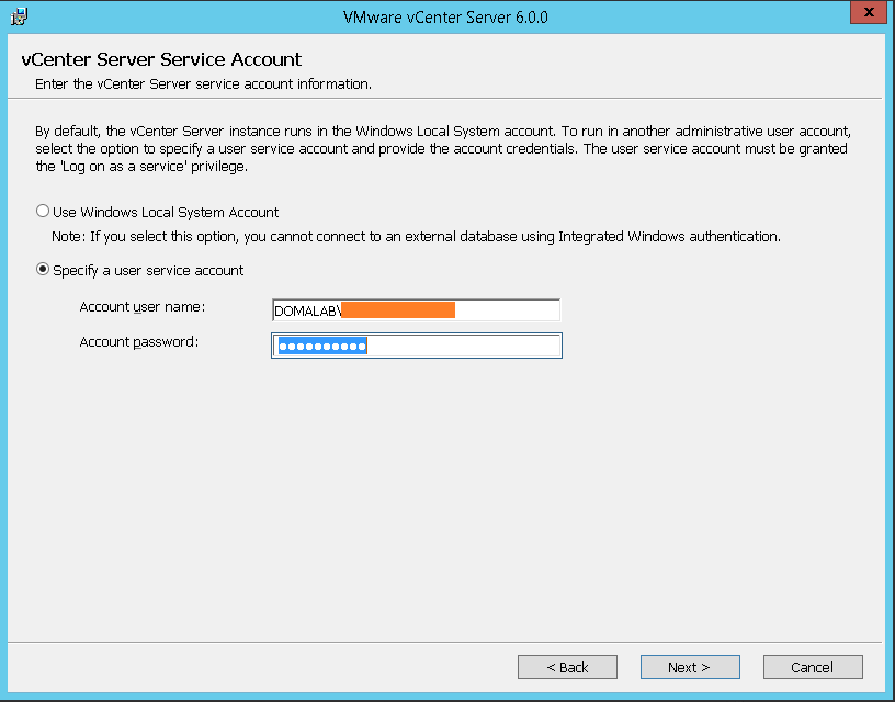 domalab.com VMware vCenter Deploy service account