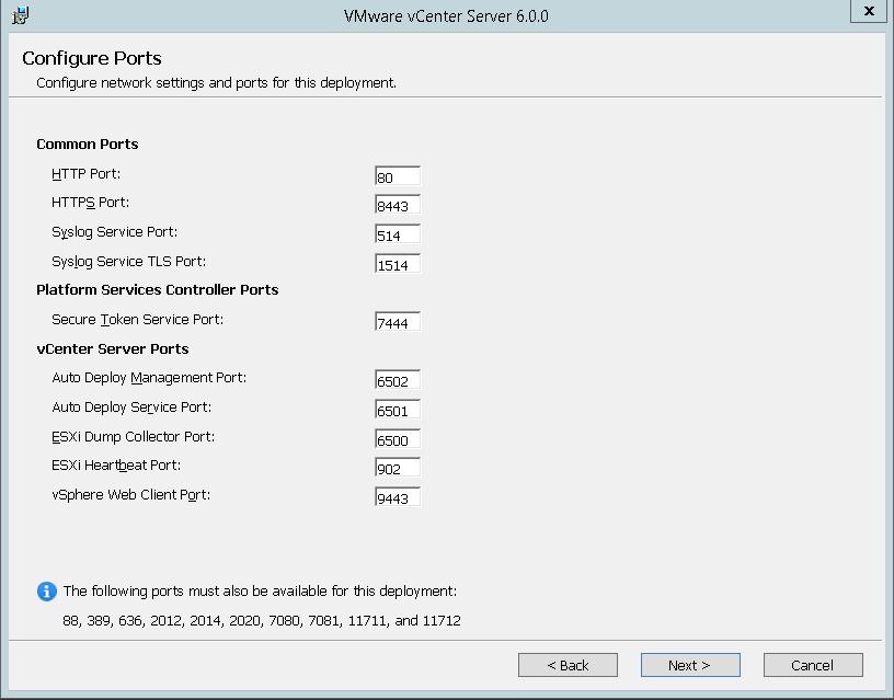 domalab.com VMware vCenter Deploy ports summary