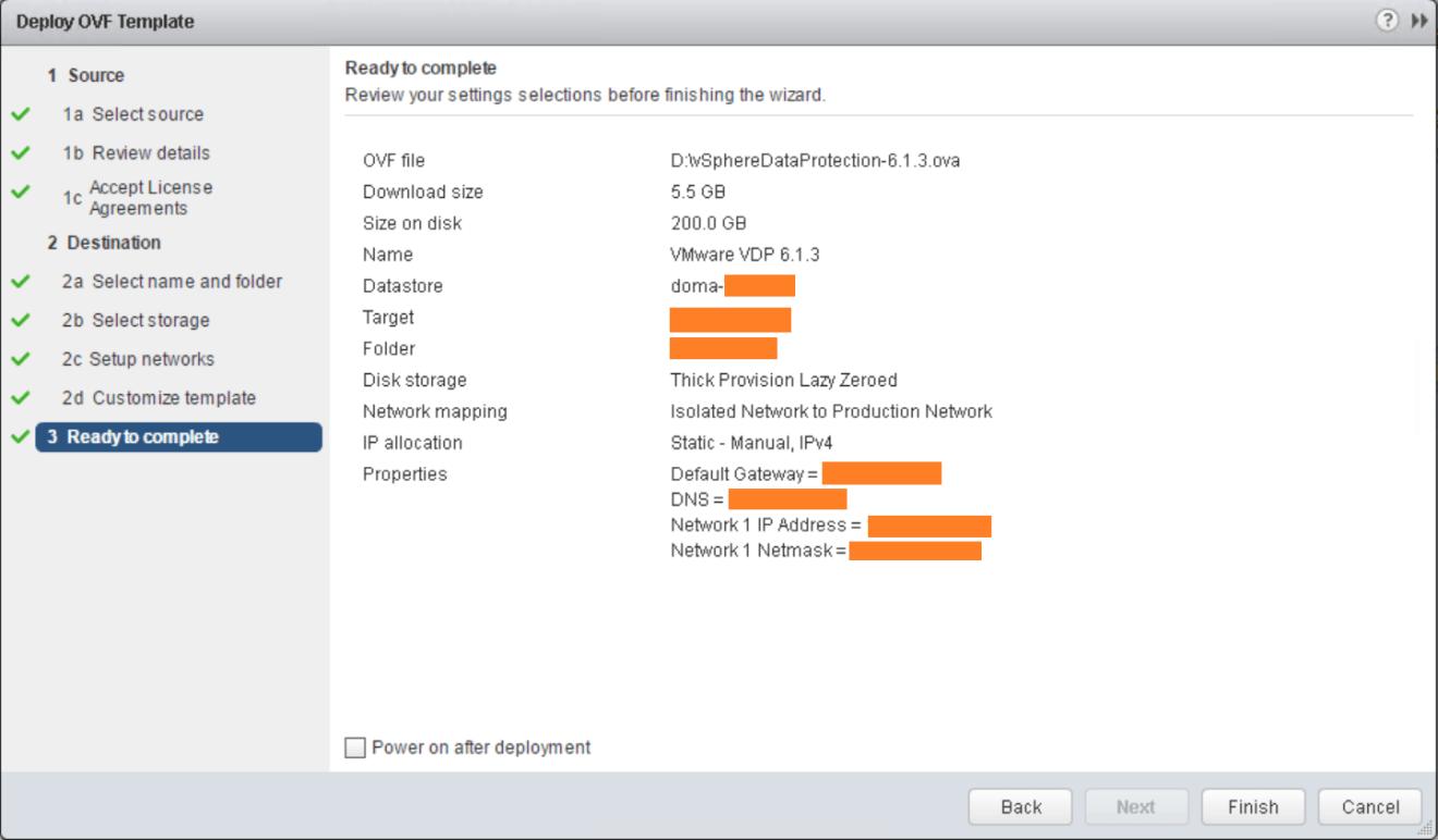 domalab.com VMware VDP install wizard summary