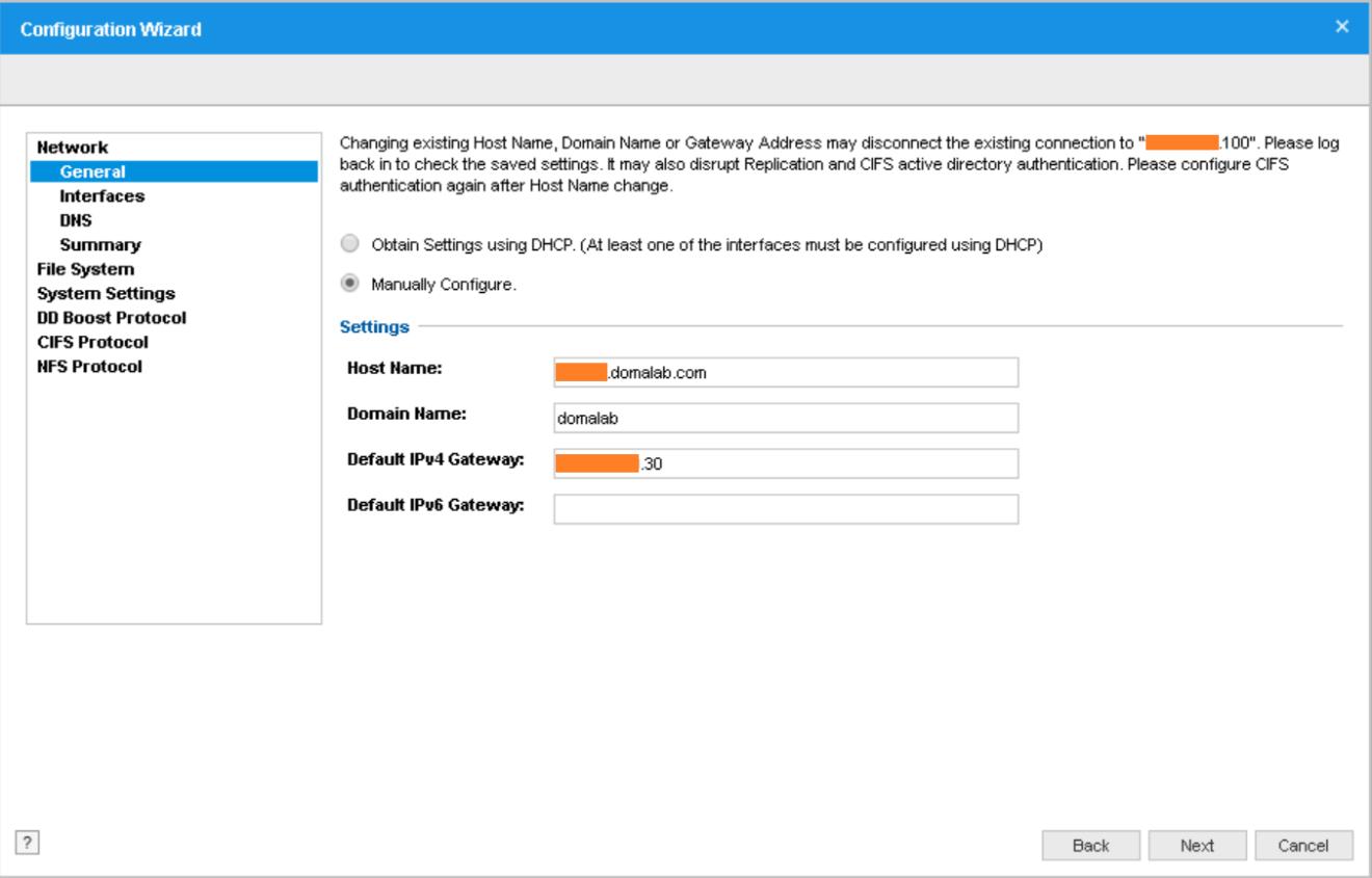 domalab.com Data Domain VE install general settings
