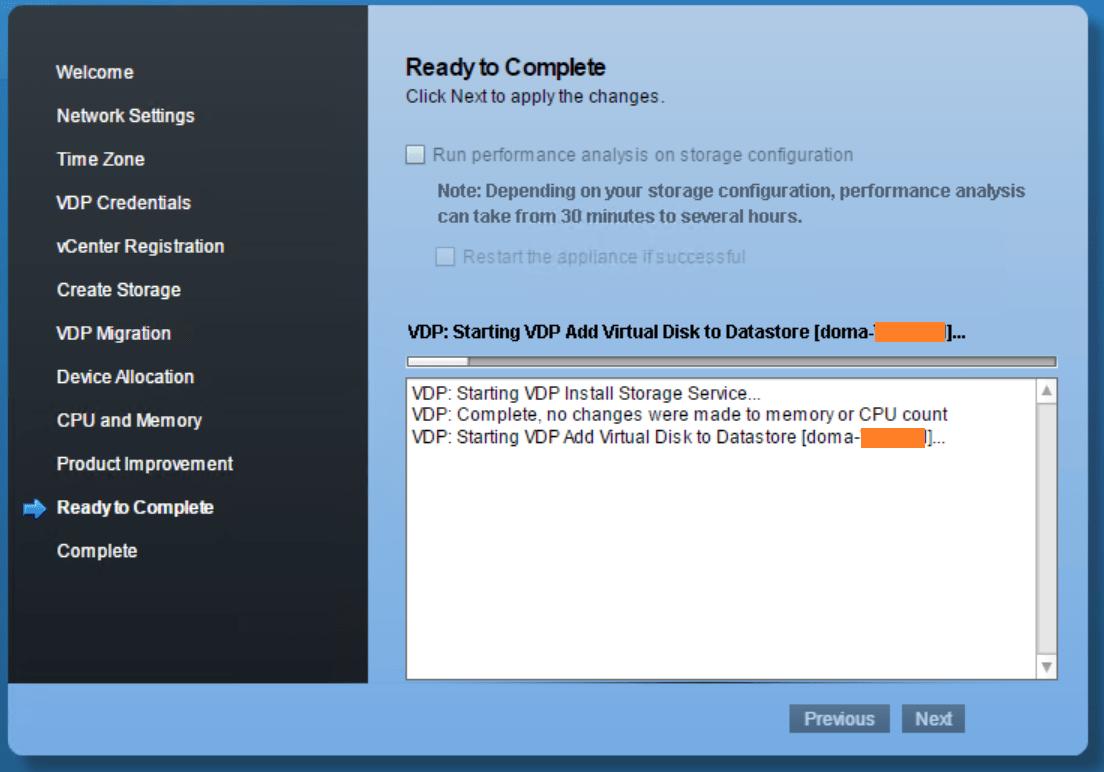 domalab.com VMware VDP configuration wizard running