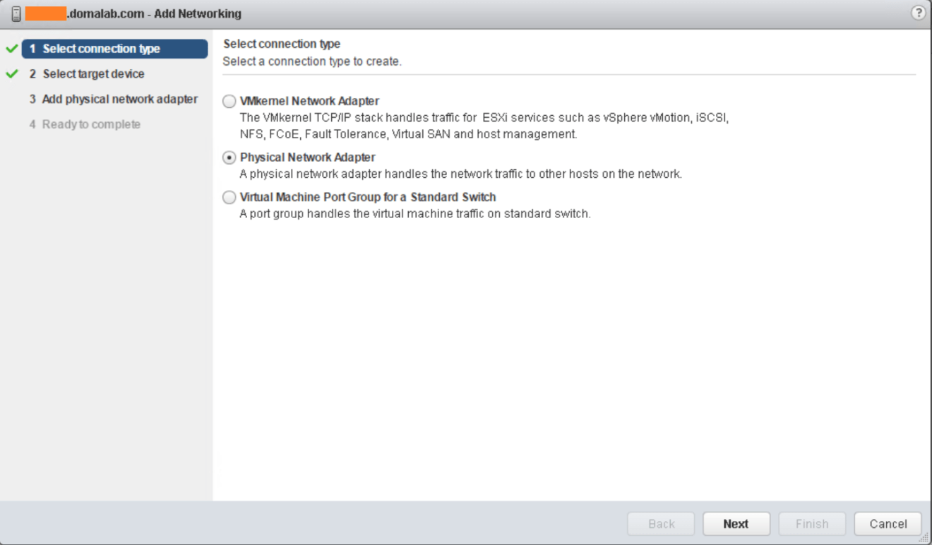 domalab.com VMware vSphere Network configure adapters