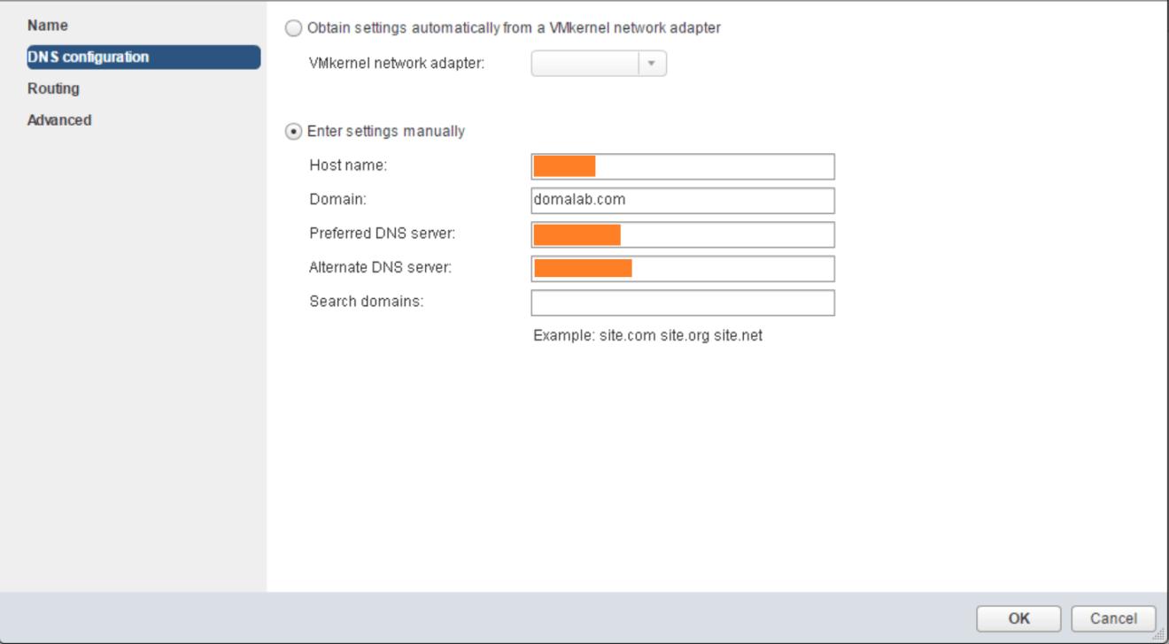 domalab.com VMware vSphere TCP/IP DNS configuration