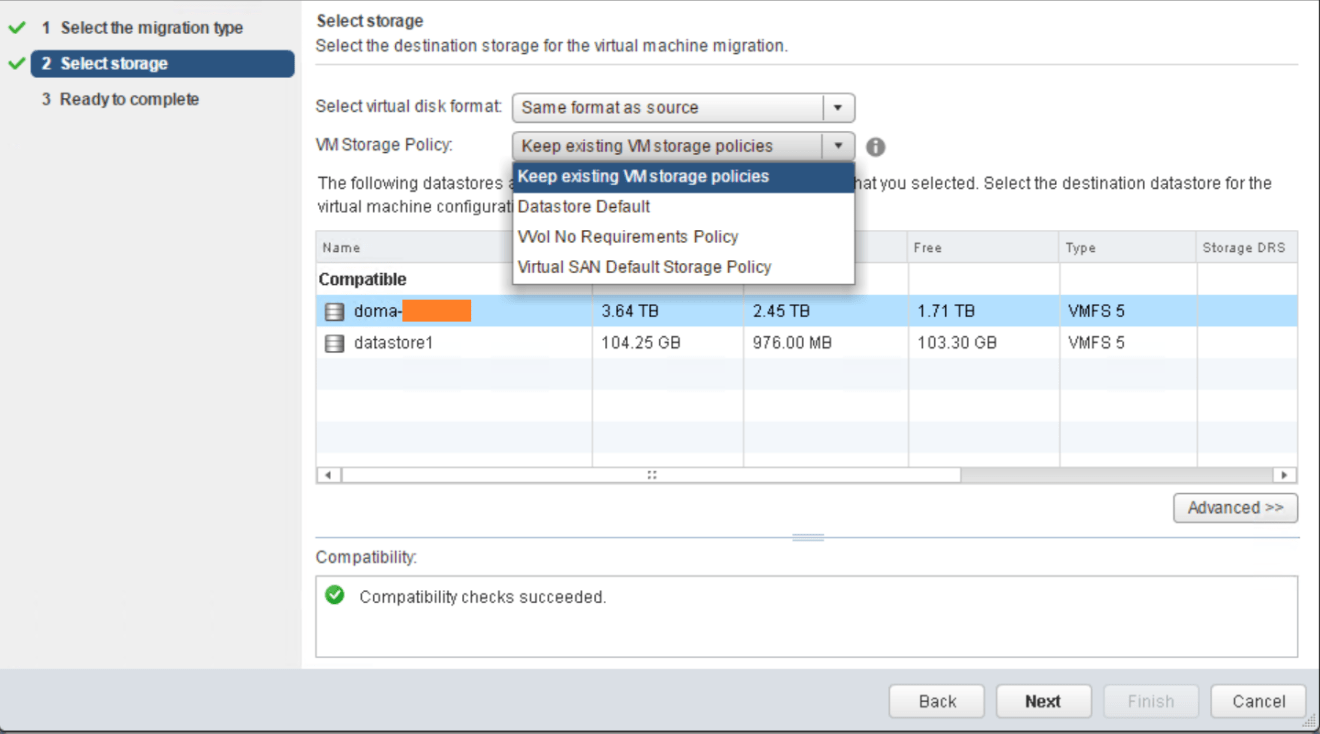 domalab.com VMware vMotion select storage policy